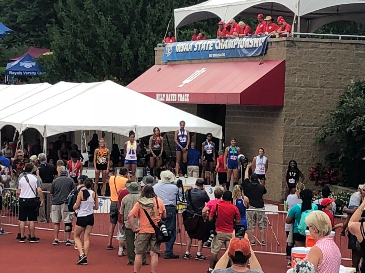 Destiny Washington is the first place medalist in the 100H at the IHSAA State Finals